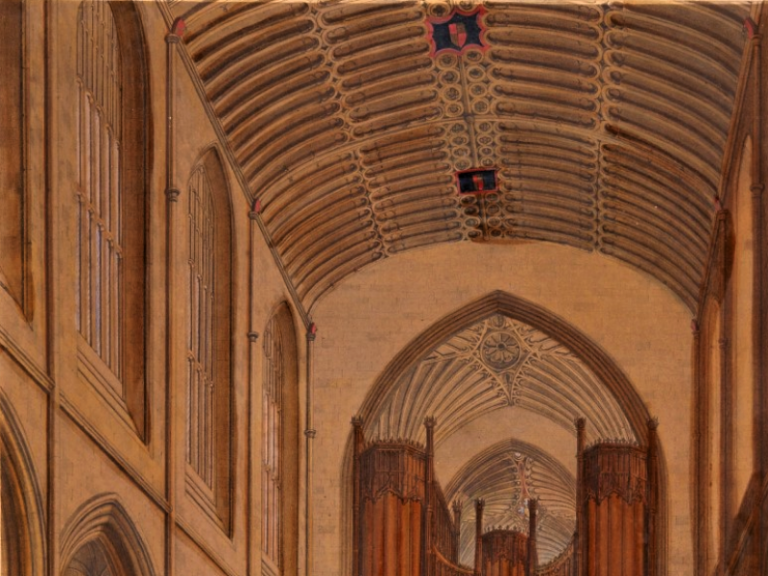 Late 18th or early 19th century print showing the Abbey nave's plaster ceiling