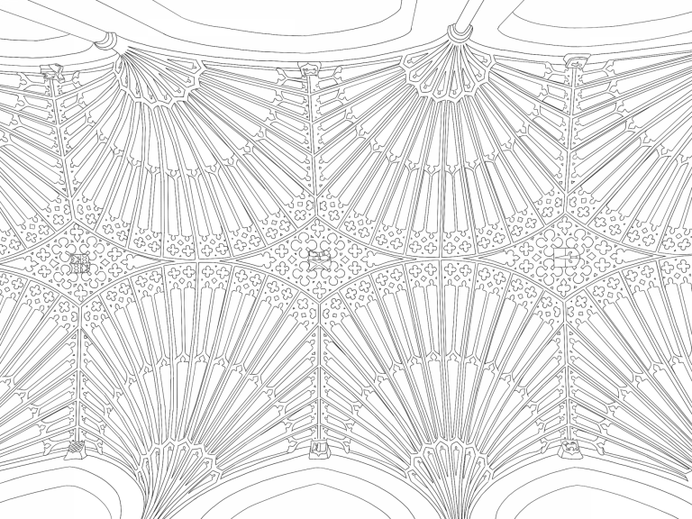 The ceiling at Bath Abbey, captured in a new downloadable colouring sheet from Wessex Archaeology