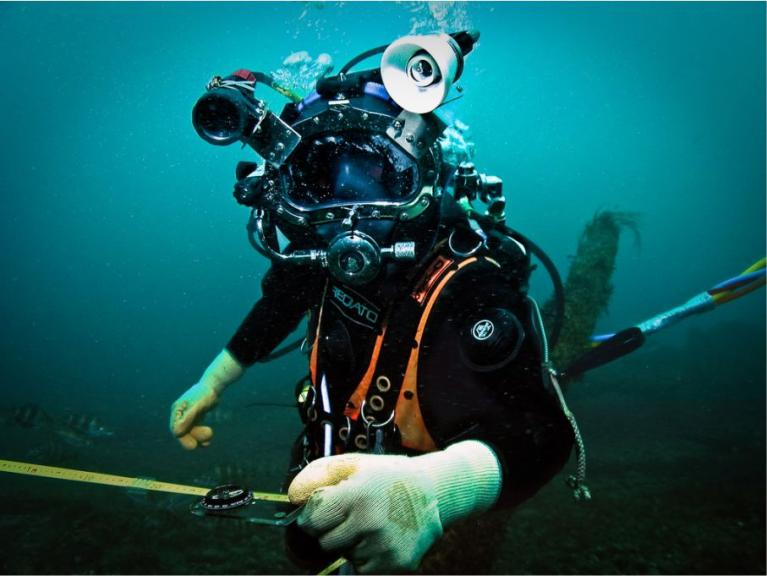 Diver taking measurements in the English Channel