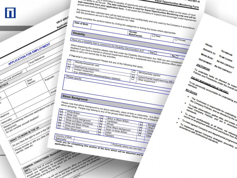 A selection of forms relating to job applications