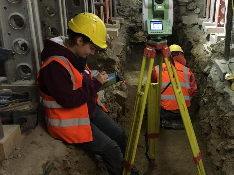 Chiara recording a trench at Bath Abbey