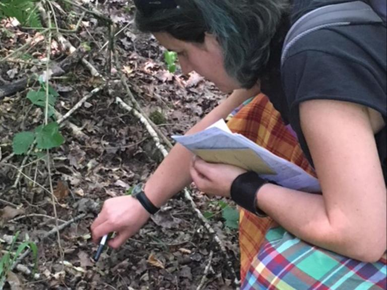 Inés collecting plant samples