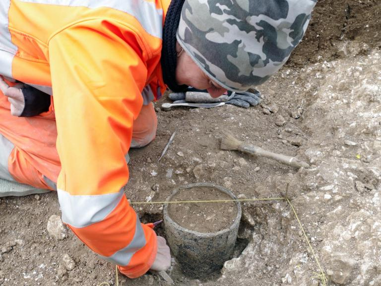 Excavating a Bronze Age vessel
