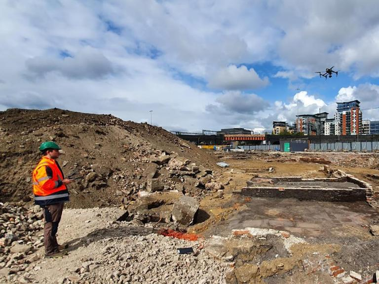 Excavations at Marshall's Mills, Leeds - UAV