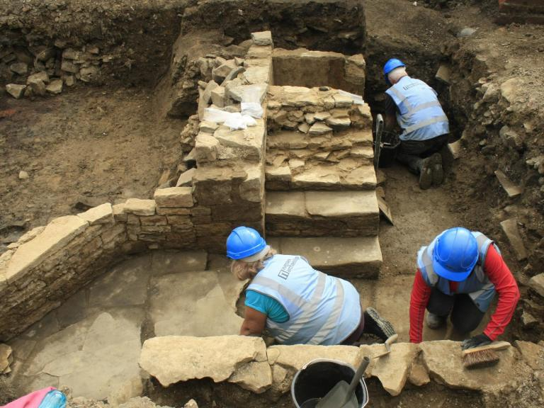 Volunteers excavating at Sheffield Castle
