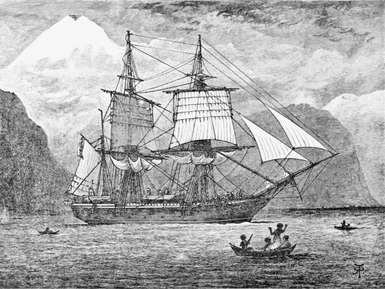 HMS Beagle in the Straits of Magellan