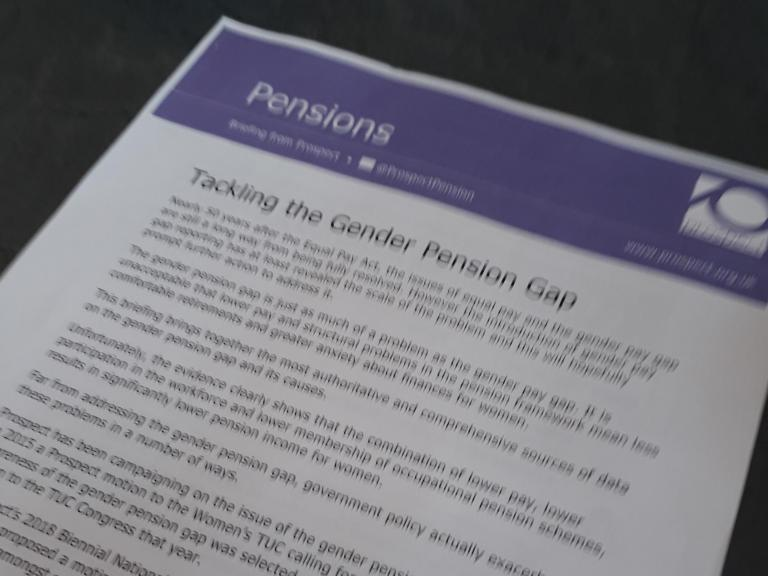 text on tackling the gender pension gap