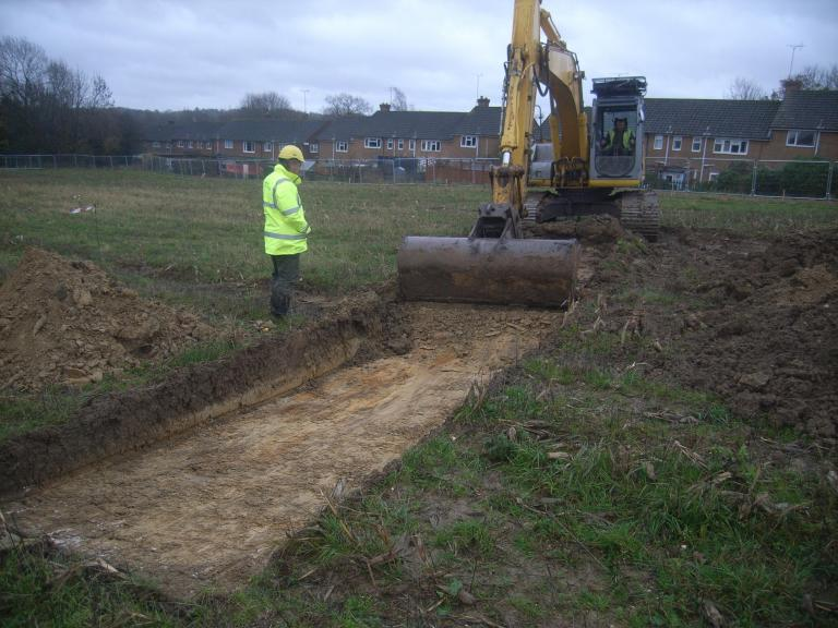 Land at Newton Road, a trench under excavation