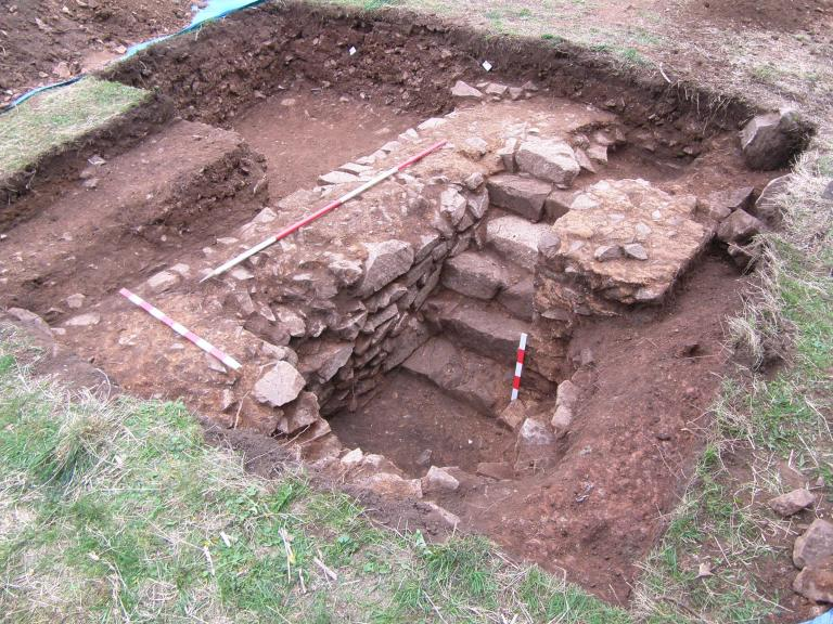 Excavated trench containing a staircase at Groby Old Hall