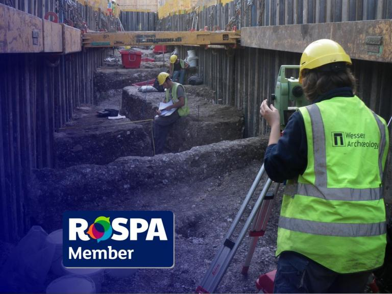 The RoSPA logo and an archaeologist surveying wearing PPE