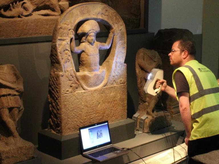 Scanning Mithras statue from Hadrian's Wall