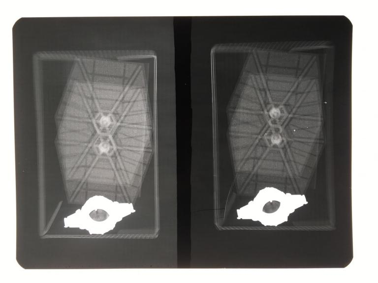 X-ray image of the TIE Fighter in its box