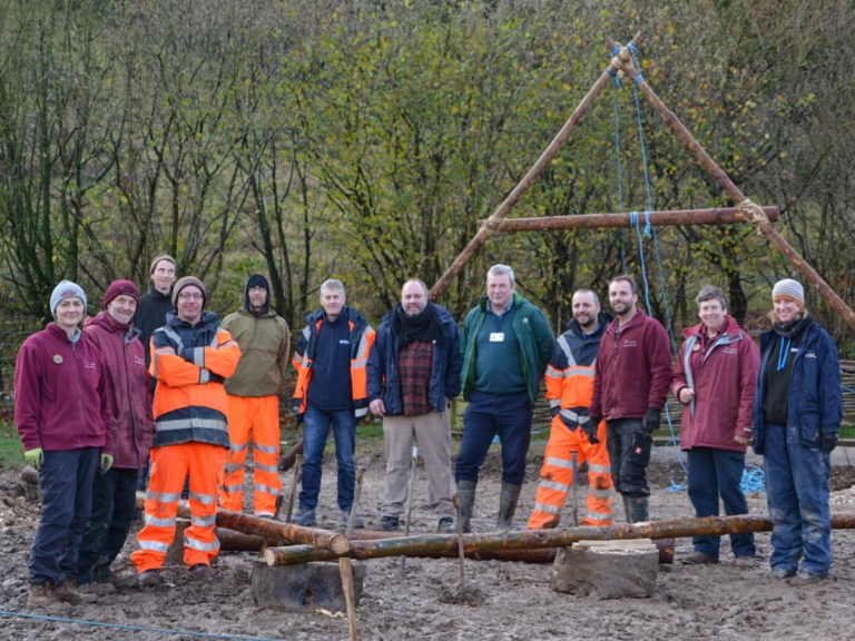 Wessex Archaeology staff help build a new Neolithic House at Butser Ancient Farm