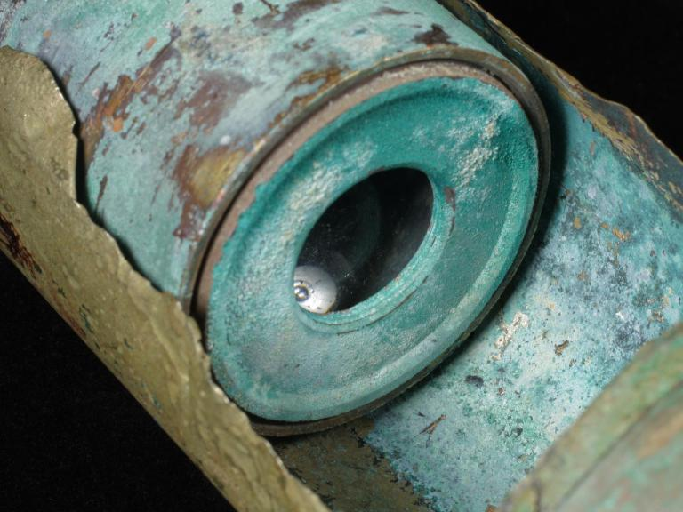 Detail of telescope recovered from the seabed
