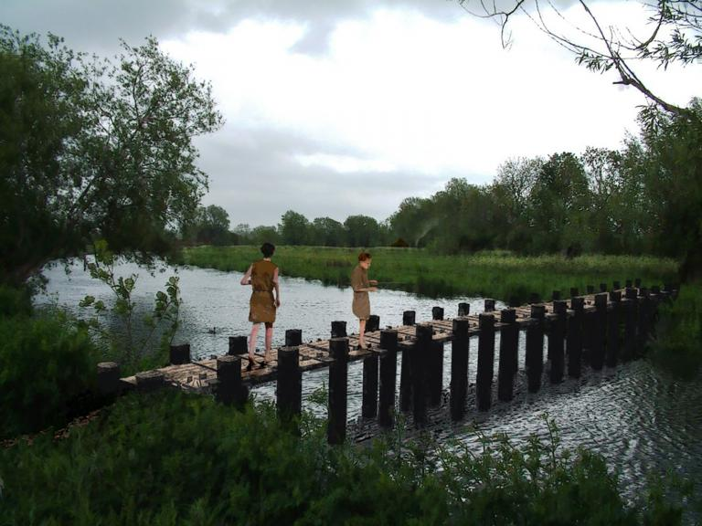 Reconstruction of the earliest bridge in Britain found at Testwood Lakes