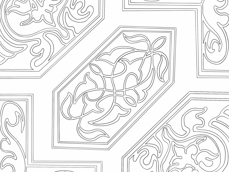 Medieval Floor Tile, Hill Hall, recreated as a colouring sheet by our talented in-house creatives