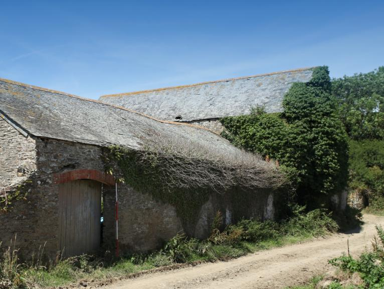 View of Treluckey Farm Barn and lane