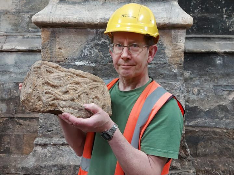 Carved Saxon stonework recovered from below Bath Abbey's gift shop