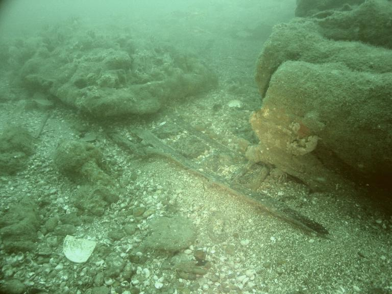 Unknown wreck on the seabed, surviving hull structure