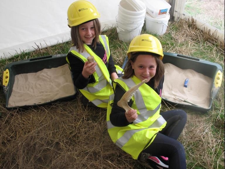 Children engaging with archaeology at the successful Sherford Open Day