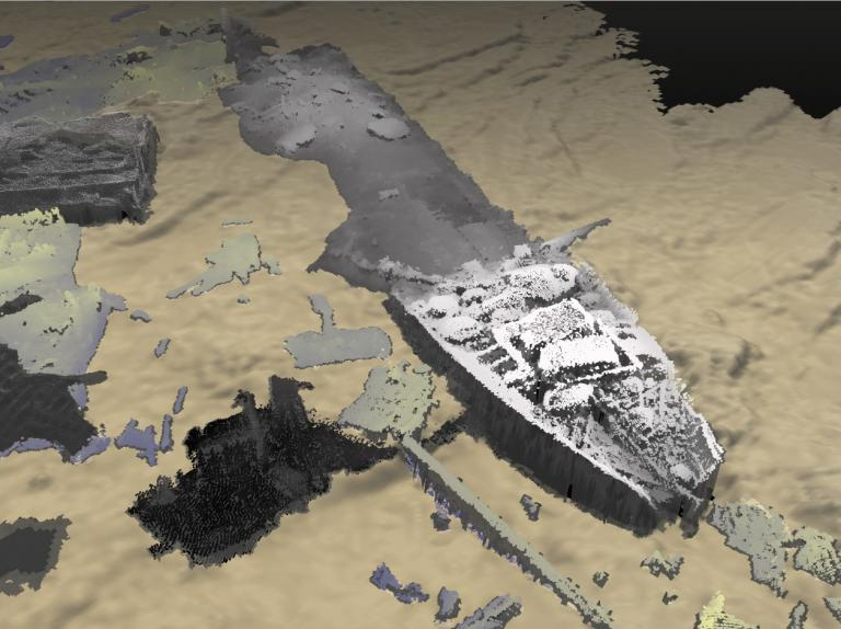 Geophysical image showing a shipwreck on the seabed