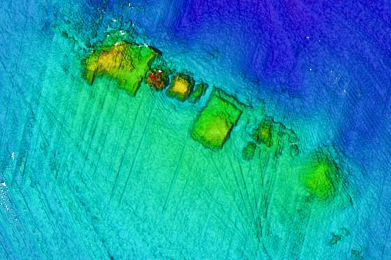 Multibeam sonar image of potential archaeology